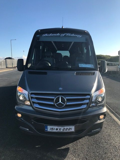 19 seater minibus for hire around galway with leather seats - front photo