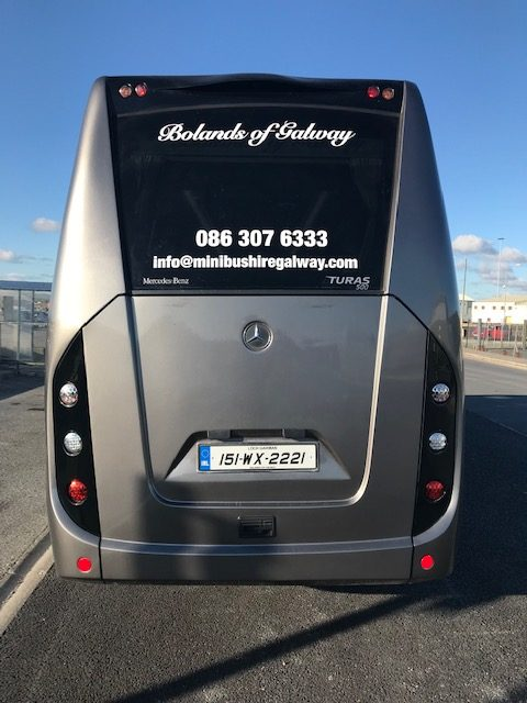 19 seater minibus for hire around galway with leather seats -rear photo